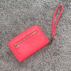 Coral wristlet wallet